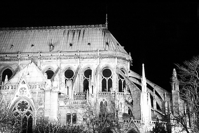 Paris photos in black and white at night - Notre Dame