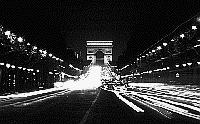 Paris black and white photos at night - Champs Elys�es as seen from the Place de la Concorde