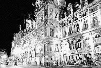 Paris black and white photos at night - H�tel de Ville