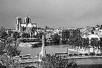 Black and white photo Paris - Institut du Monde Arabe - View onto Ile de la Cit�