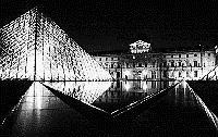 Paris black and white photos at night - Louvre and Pyramid