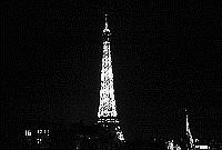 Paris black and white photos at night - Eiffel Tower